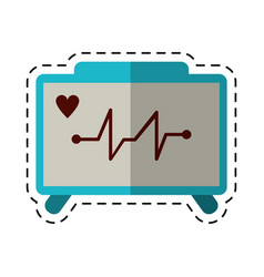 Cartoon ecg heart machine medical device vector
