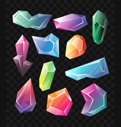 crystals - realistic set of minerals vector image