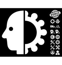 Cyborg Head Icon With Tools Bonus vector image