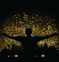 gold mosaic dj and crowd vector image vector image