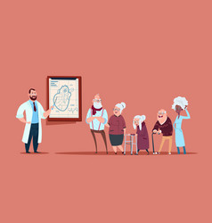 group of senior people on consultation with doctor vector image vector image