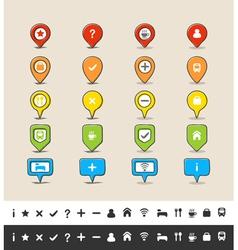 Hand drawn GPS pin and map icon set vector image