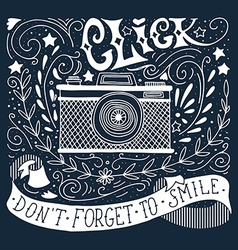 Hand drawn vintage print with a camera and hand vector image vector image