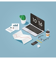 Isometric workstation vector image vector image