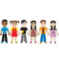 kids holding hands vector image vector image