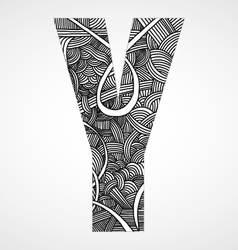 Letter Y from doodle alphabet vector image