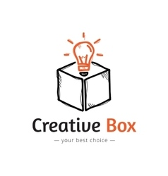 minimalistic light bulb in a box logo vector image vector image
