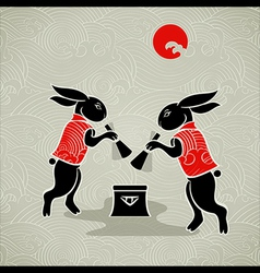 Moon rabbits vector