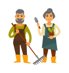 old farmer man and woman farm agriculture vector image