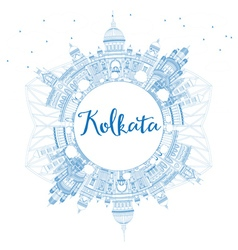 Outline kolkata skyline with blue landmarks vector