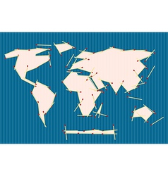Paper World Map Made from Matches on Blue Ba vector image vector image