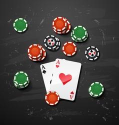 Poker gambling chips casino elements vector image