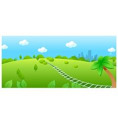Railroad track over green landscape vector