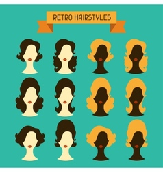 Retro hairstyles female silhouettes vector
