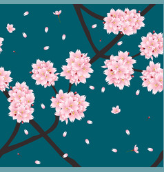Sakura cherry blossom flower on indigo green teal vector