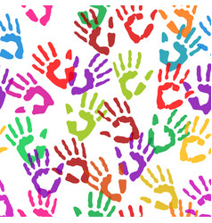 seamless texture handprints vector image vector image