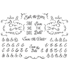 Set of hand drawnf rustic decorative swirls vector