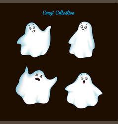 set vintage emoji ghost vector image