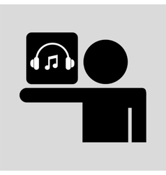 silhouette man icon music social network vector image