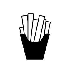 silhouette monochrome with fries portion vector image