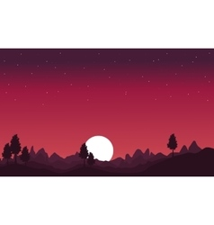 Silhouette of hill with moon scenery vector image vector image