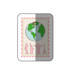 Sticker color pastel frame with world map and set vector
