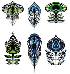 Stylized peacock feathers vector