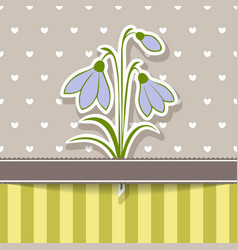 Vintage card with bunch of snowdrops vector