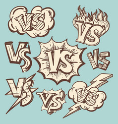 Vintage versus confrontation signs collection vector