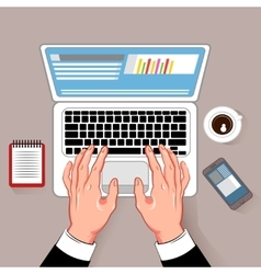Online working laptop composition vector