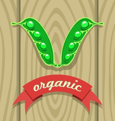 Pea pod on wooden boards with red ribbon vector