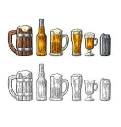 Beer set with wood mug glass metallic can vector