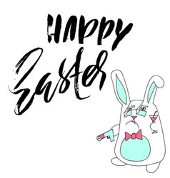 Happy easter lettering for greeting card vector
