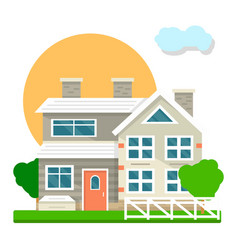 House mansion or villa cottage courtyard view vector