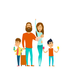 traveling happy family vector image
