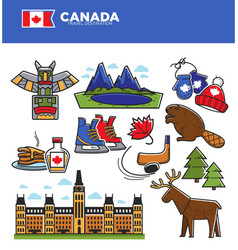 Canada tourism travel landmarks and culture famous vector