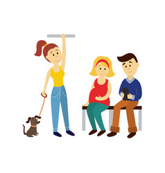 people in public transport set isolated vector image