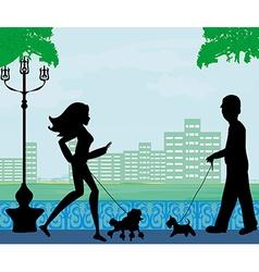 Walk the dog in a city park vector