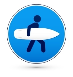 Blue round road sign with surfer vector