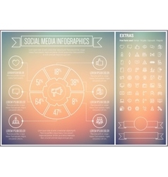 Social media line design infographic template vector