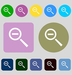 Magnifier glass zoom tool icon sign 12 colored vector