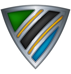 steel shield with flag tanzania vector image