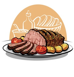 Roast beef with potatoes vector