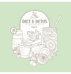 Vintage sketch of diet food vector