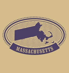 Massachusetts map silhouette - oval stamp vector