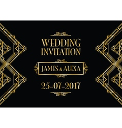 Wedding invitation art deco vector