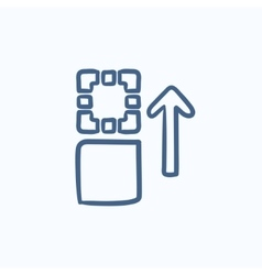 Movement of files sketch icon vector