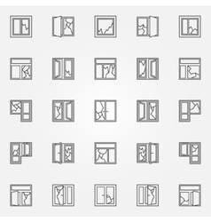 Broken windows icon set vector