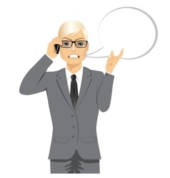 Angry blond businessman having conversation vector
