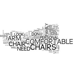Arm chairs text background word cloud concept vector
